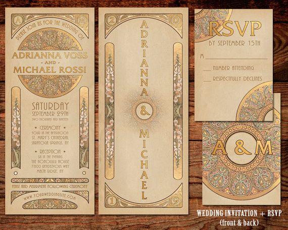 Custom Order For Jennifer: 15 Wedding Invitations + 20 Announcement Cards |  Custom Design U0026