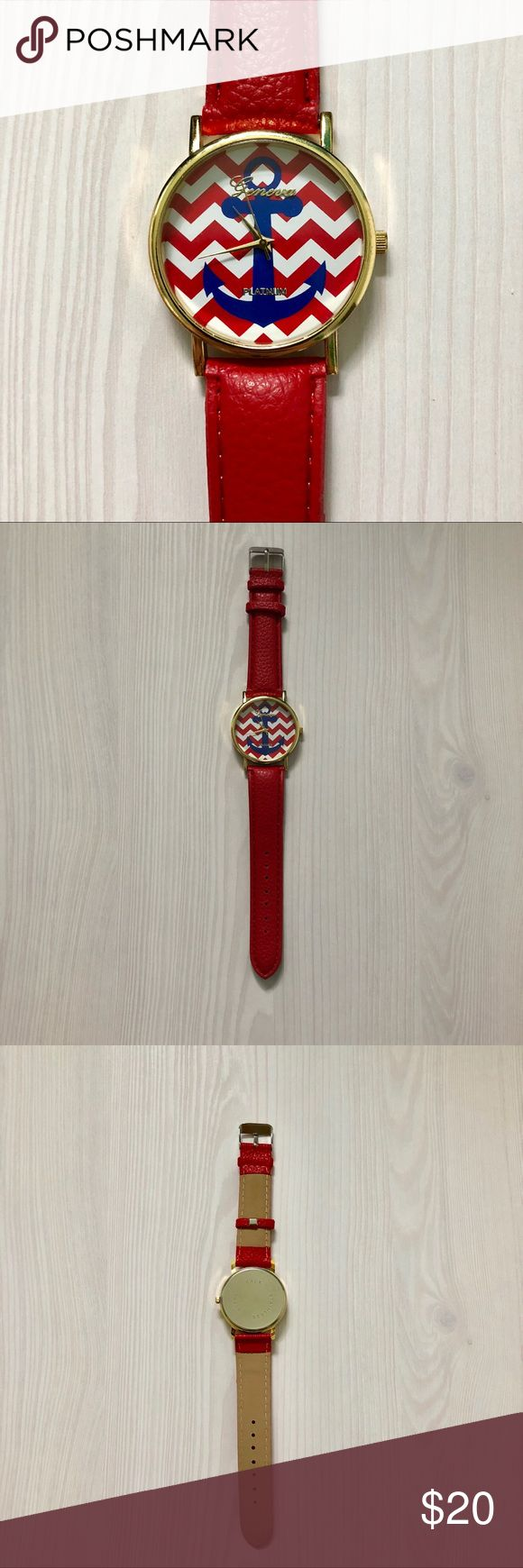 Nautical Red & Blue Anchor Watch NWT. This anchor watch has a leather strap and chevron detail! Geneva Platinum Accessories Watches