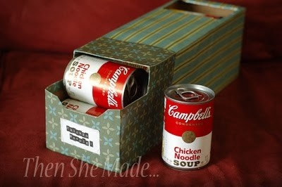 Empty pop box used to store lots of canned goods.Good Ideas, Organic Ideas, Contact Paper, Food Storage, Pantries Organic, Sodas Boxes, Diy, Storage Ideas, Soup Cans