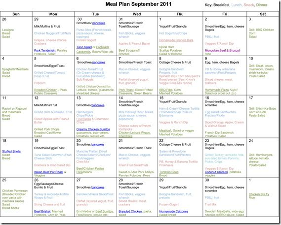 Pack Of Ipad Wod September 2011: September Monthly Meal Plan--site Has Monthly Menus And