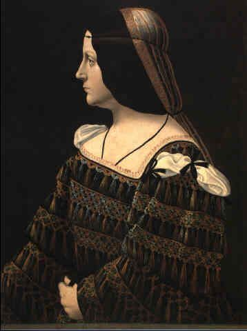 Bernardino de Conti - 15-16 c.PORTRAIT OF A LADY, HALF LENGTH, IN PROFILE, IN A BLACK DRESS DECORATED WITH LACE, WITH PENDANT TASSELS