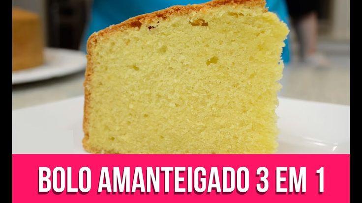 BOLO AMANTEIGADO 3 EM 1 - Isamara Amâncio = - 6 gemas - 2 xícaras (chá) de açúcar refinado - 250 gramas de manteiga sem sal e em temperatura ambiente  - 1/2 xícara (chá) de água - 1/2 xícara (chá) de leite de coco - 1/2 colher (chá) de essência de baunilha  - 3 xícaras (chá) de farinha de trigo - 1 colher (sopa) de fermento em pó - 6 claras em neve