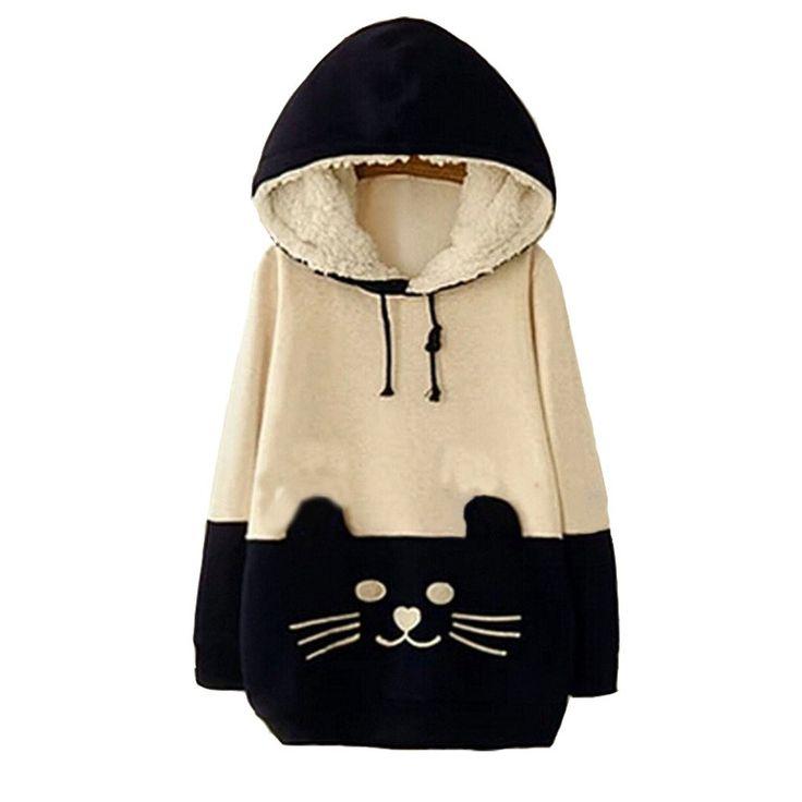 Woman Girls Sen female Sweater Cartoon Cat Fleece Hoodie Pullover Sweatershirt 4XL Beige&Dark blue