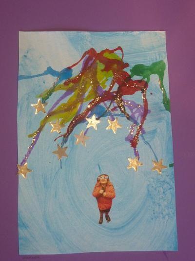 Bekijk de foto van Noemivb met als titel met waterverf achtergrond  met ecoline blazen  glitters erover  foto en sterretjes erop   en andere inspirerende plaatjes op Welke.nl.