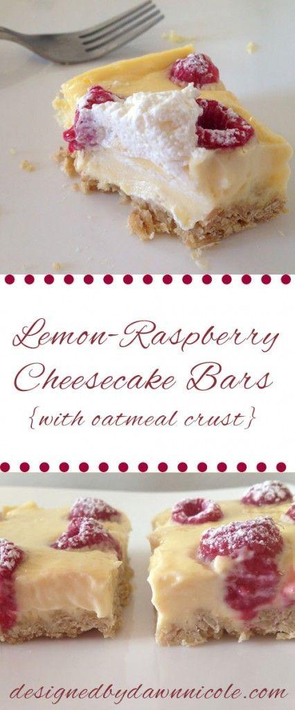 Lemon-Raspberry Cheesecake Bars {with Oatmeal Crust}