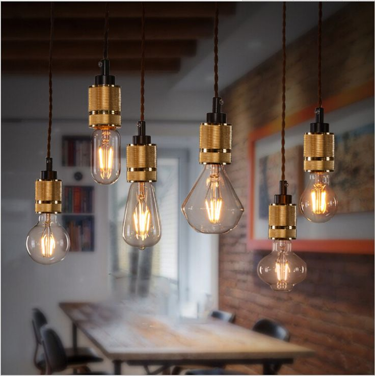 Cheap e27 a19, Buy Quality e27 9w directly from China e27 globe Suppliers: American Loft Stlye Edison Bulbs E27 Lampshade Iron Golden Pendant Lights Dinning Room Kitchen Retro Lamparas Colgantes