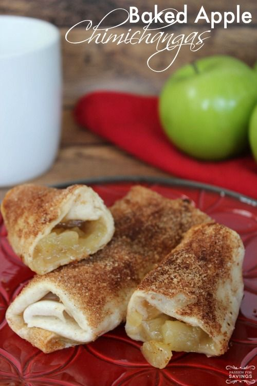 Baked Apple Chimichangas Recipe! A warm and delicious Fall and Winter Apple Recipe for Dessert!