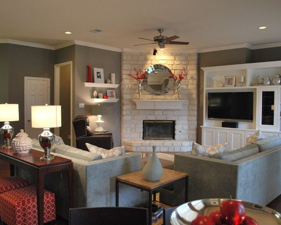 POP OF RED Grey Living Room Design Pictures Remodel Decor And Ideas Corner FireplacesWhite
