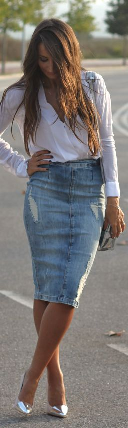 High-waisted Jean skirt. I actually think this is super cute! Love the flowing, white shirt with it too!