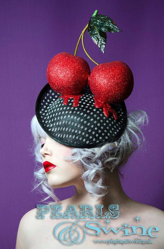 Giant Red Glitter Cherry Hat Polka Dot Vintage Style Fascinator Pop Surreal Wedding Royal Ascot Burlesque Millinery Avant Garde Rockabilly on Etsy, $187.27