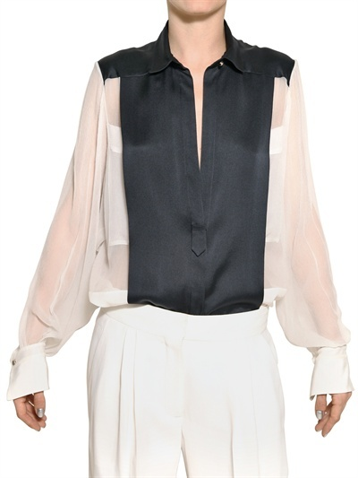 CHLOE' - SILK SATIN AND SILK CHIFFON SHIRT