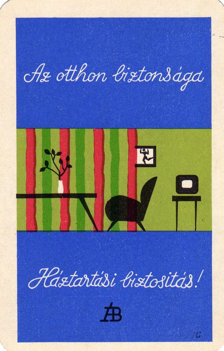 Hungarian Pocket Calendar Cards. ÁB Household Insurance. 1965.