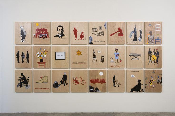 Deborah Grant, The Birth of a Genius in the Midnight Sun, 2012. Mixed media on wood panel, 75 x 154 1/2 inches