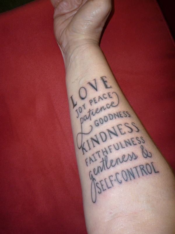 Fruits of the Spirit Tattoo. I don't care for this style, but I def want them on me for a reminder!