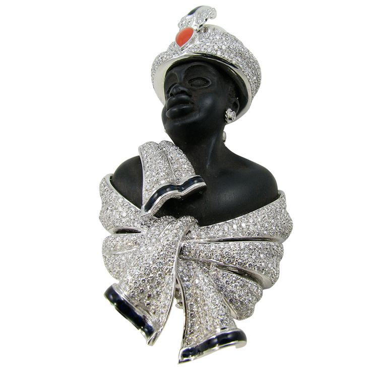 "A Bold Wood, Diamond, Enamel, Pearl and Gold ""Blackamoor"" Brooch at 1stdibs"