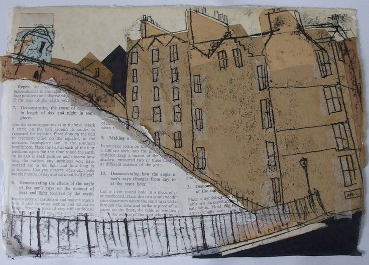 Castle Esplanade from Johnston Terrace, Edinburgh 1 Collage with Maps and Monoprint 2013 SOLD