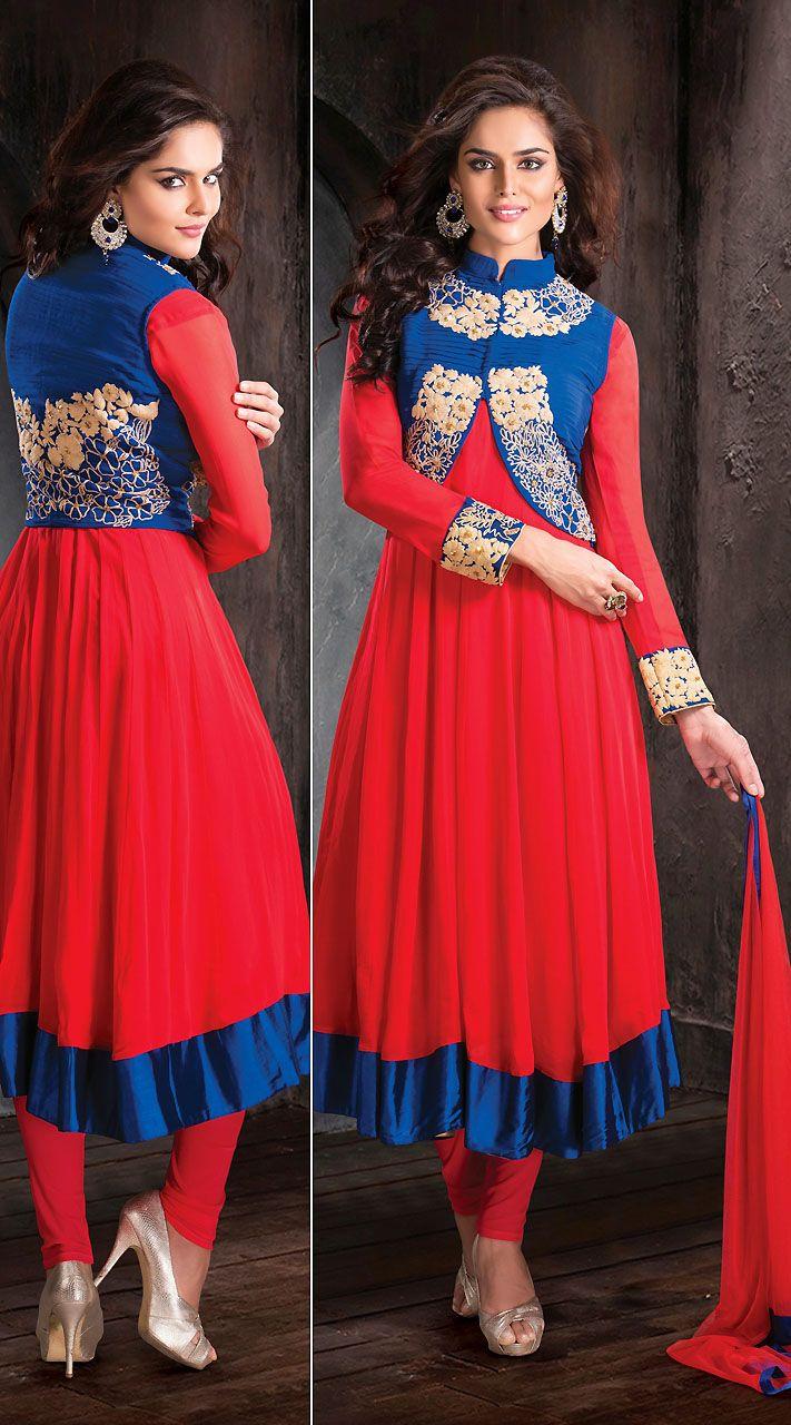 Red Net Blue Short Jacket Style Designer Salwar Kameez