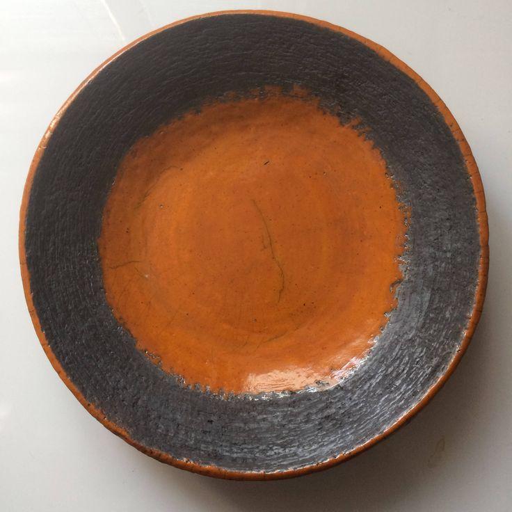 Large raku platter Raku bowl Fruit plate  Orange plate Ceramic plate Handmade Gift