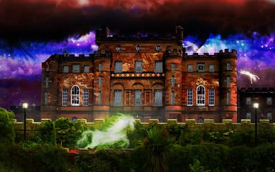 Mansion under the colorful sky wallpaper