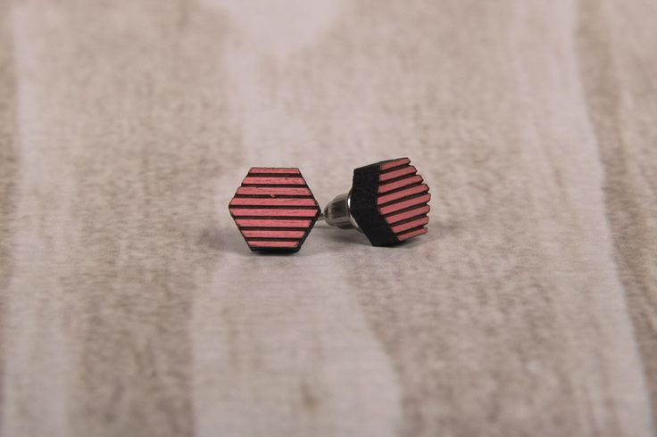 Wooden Laser Cut Pink Stripy Hexagon Earrings made in South Africa