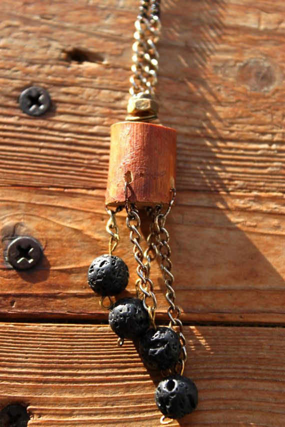 Lava beads in connection with piece of wood and screw looks so uniqe and extraordinary. Excellent way to be yourself even in your daily routine.