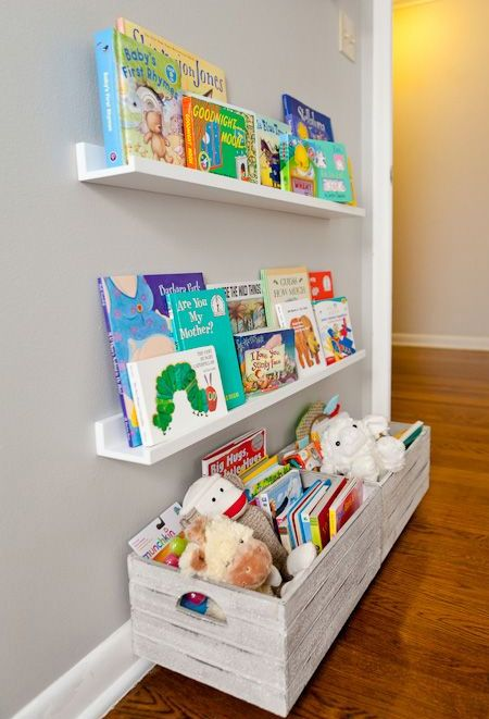 Ledge shelves allow books to be arranged along the length and be easily visible, adding to the room's overall decor. You can even use ledge shelves for displaying small toys and collectibles.