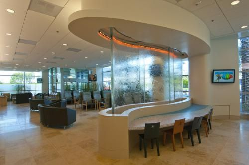 Hoag Hospital is a nonprofit facility that has served Orange County, California for over 60 years. Reynolds Polymer participated in a 2010 project to add a curved water-wall inside the main lounge. The acrylic adds a contemporary, calming beauty to an already historic piece of the community.