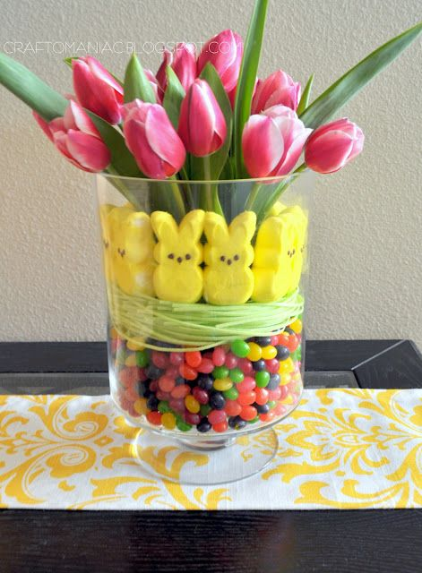 I used two bags of jellybeans, one good bushel of edible candy grass, and 1 package of yellow peeps. I started with a round glass vase, and then placed a med. sized drinking glass in the center of the vase.