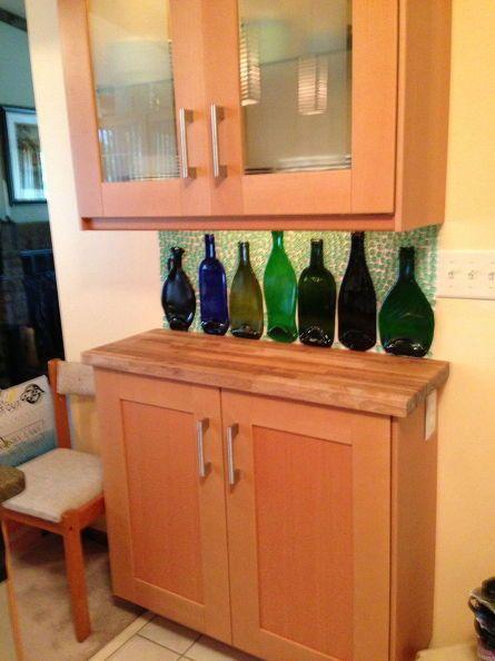 slumped bottles become a backsplash, kitchen backsplash, kitchen design