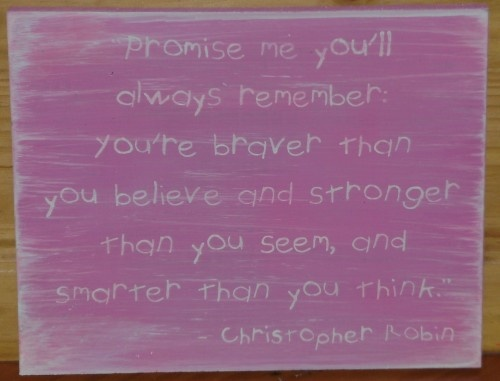 Pink Winnie the Pooh Christopher Robin quote sign Primitive Nursery Decor New baby Girl $25