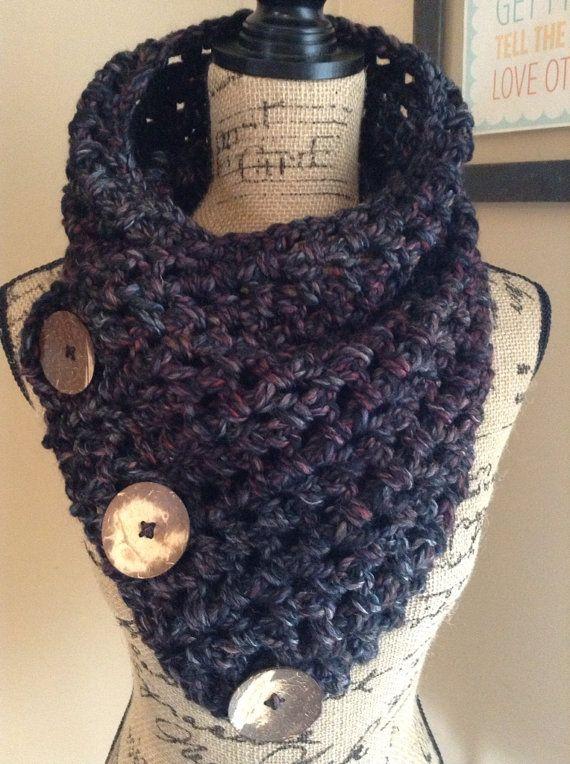 Sequoia Buttoned Crochet Cowl