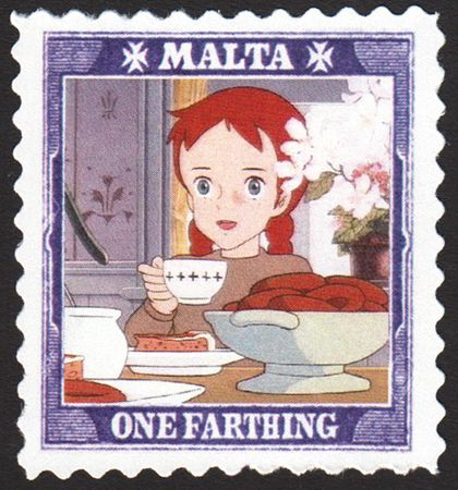 Malta's 1-farthing Anime Anne (of Green Gables) stamp, with art by Yoshifumi Kondo.