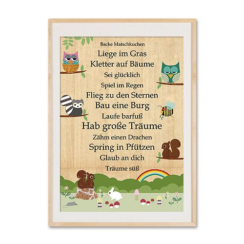 Taufe & Geburt  - A4 Poster - Hab große Träume mit Tieren - ein Designerstück von VintagePaperGoods bei DaWanda