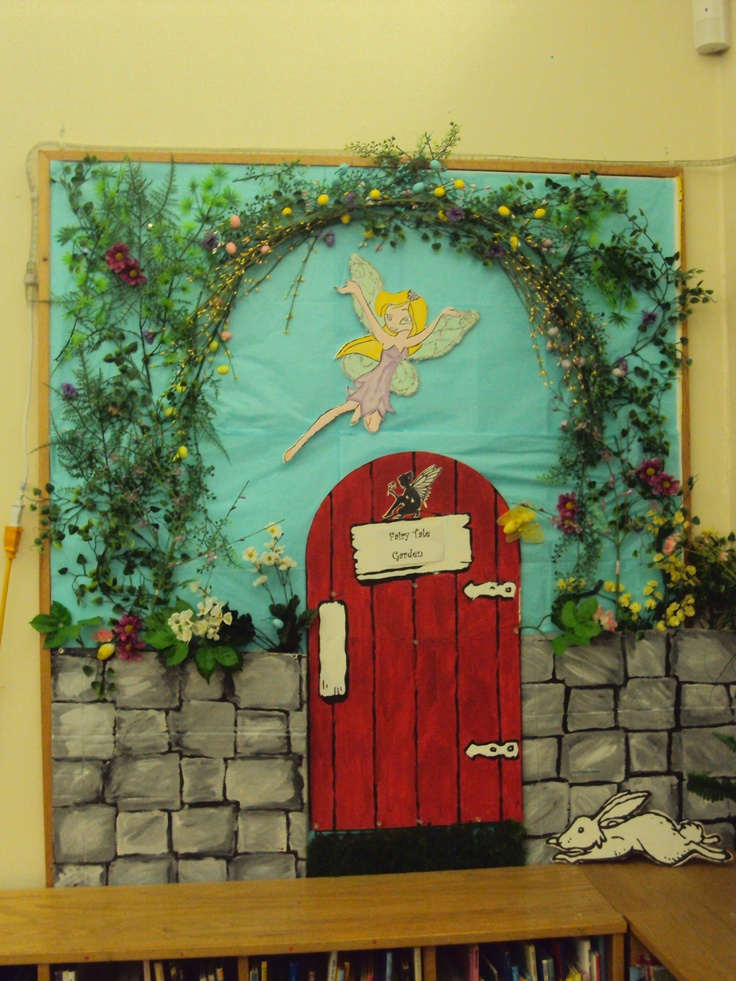 fairy garden bulletin board library display (thinking I may be able to make something similar)