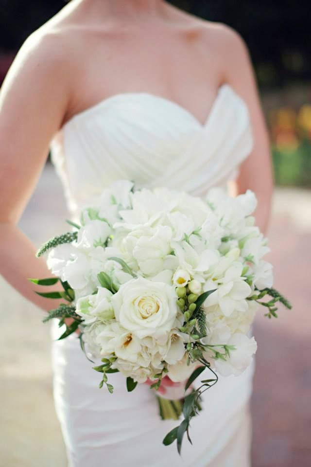 White Free Formed Bouquet With Wedding Flowers Like Freesia Veronica And Sweet Pea