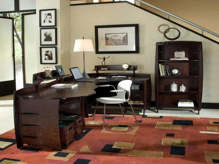Modern Home Office Furniture House Interior Designs with wooden furniture material and large carpet