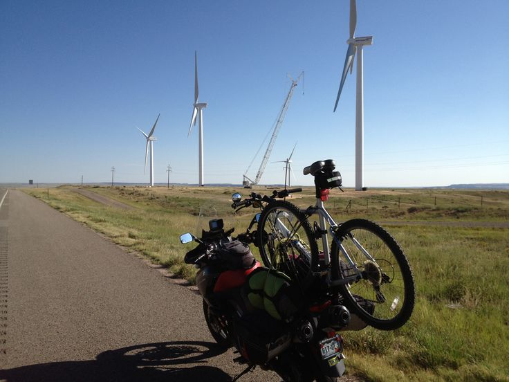 Bicycle mount built to hold either my ancient road bike or as pictured with my trusty mountain bike (wind turbines just north of Walsenburg, CO).