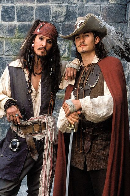 *CAPTAIN JACK SPARROW & WILL TURNER ~ Pirates of the Caribbean....Johnny Depp with Orlando Bloom