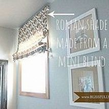 Hometalk :: Using a cheap-o mini blind and a Target curtain panel, I got creative…: Diy Romans, Decor Improvement, Cheapo Minis, Living Rooms, Curtains Panels, Cheap O' Minis, Minis Blinds, Target Curtains, Shades Diy