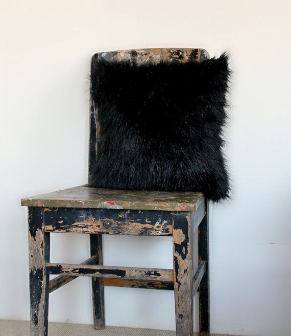 Black Faux Fur Cushion Cover Faux fur pillow by northwestdecor