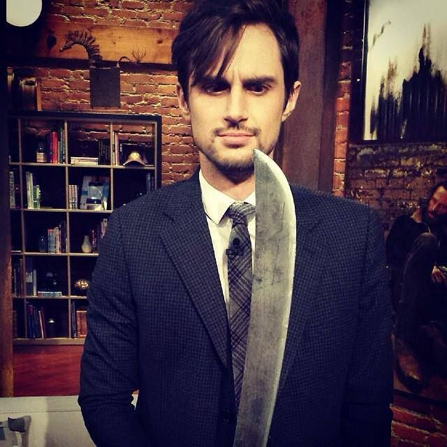 """Andrew J West;  Gareth & """"The Machete with the Red Handle""""  up close & personal."""