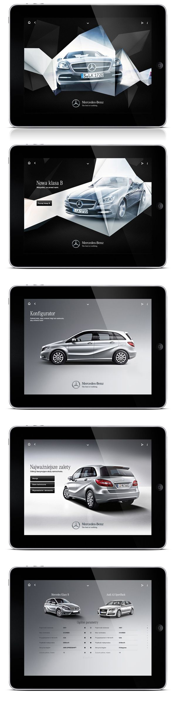 Mercedes iPad app ui design by maciej mach http://www.behance.net/maciejmach