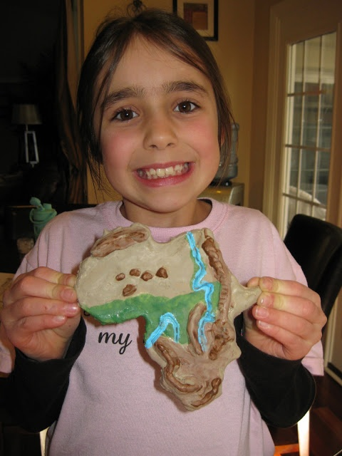 smaller salt dough map--the salt dough maps that we often make are GIANT, so I love the idea of a small map that the kiddos can carry around or hang on the wall