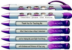 "Greeting Pen ""Teachers Shape the Future"" #1 Teacher Pens with Rotating Messages, 6 Pen Set (36402) This will remind your teacher why she/he loves teaching.                 Message 1: Thank You For Teaching Me Message 2: What I Need To Know in Ways I Understand Message 3: and for Helping Me Learn Right From Wrong Message 4: with Kindness and Patience All Day Long"