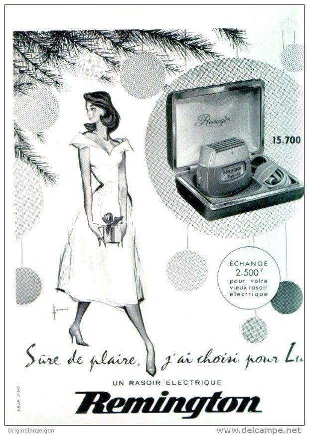 Original-Anzeige /Publicité 1957 - (en français) RASOIR ÉLECTRIQUE / REMINGTON - ca. 200 x 270 mm