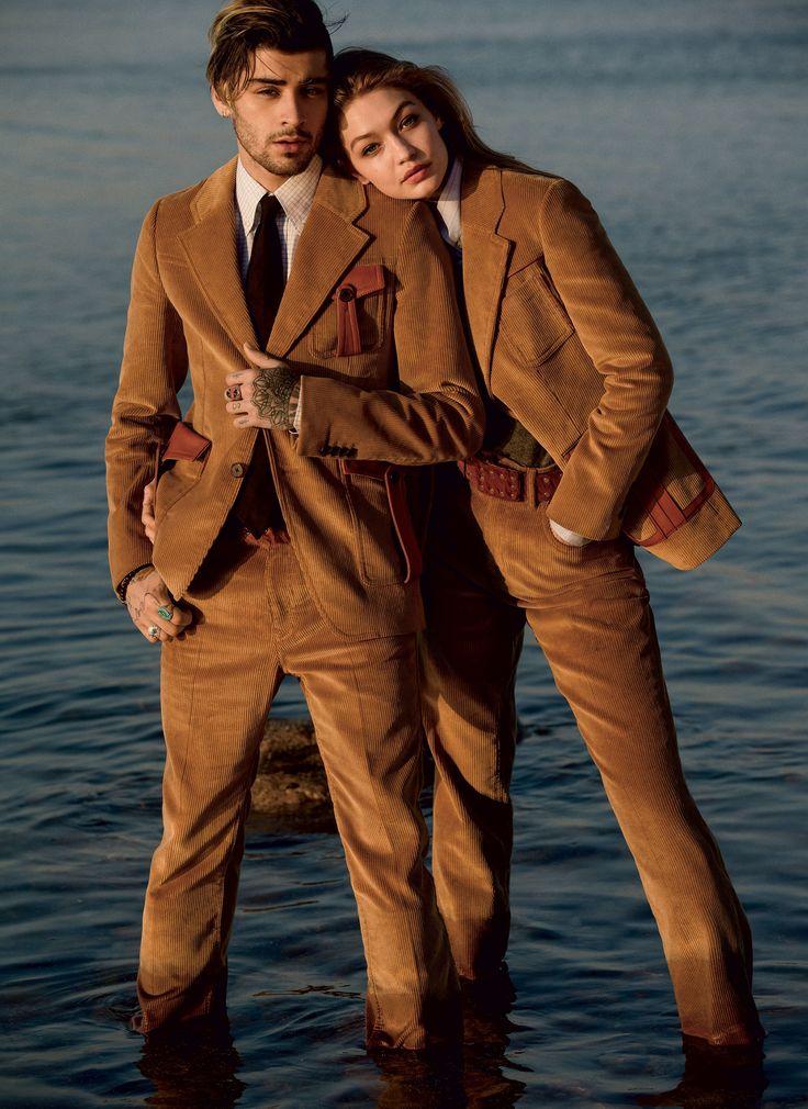 Double Take: Gigi Hadid and Zayn Malik by Inez and Vinoodh, for Vogue US August 2017 - Gigi in Prada