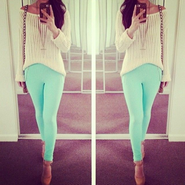 mint pants summer look spring outfits Teen fashion Cute ...