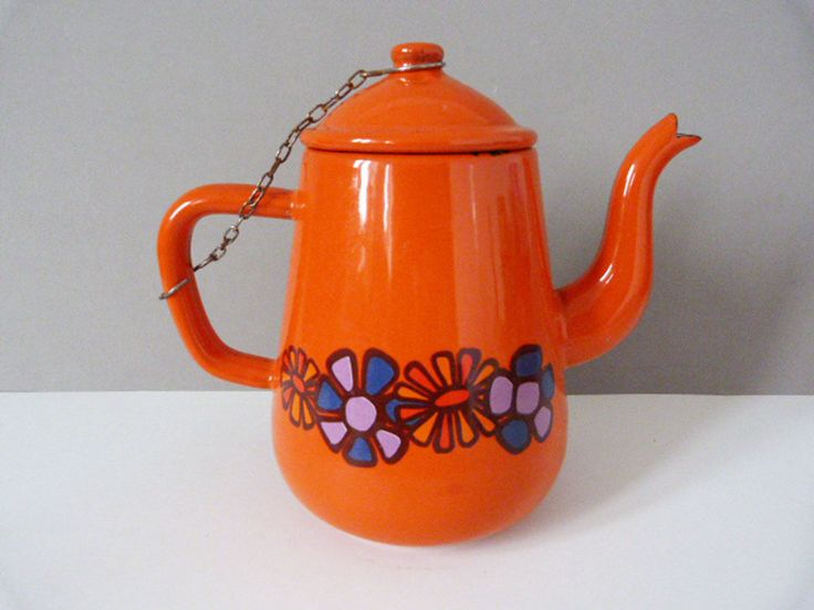 Vintage orange enamel teapot by planetutopia on Etsy
