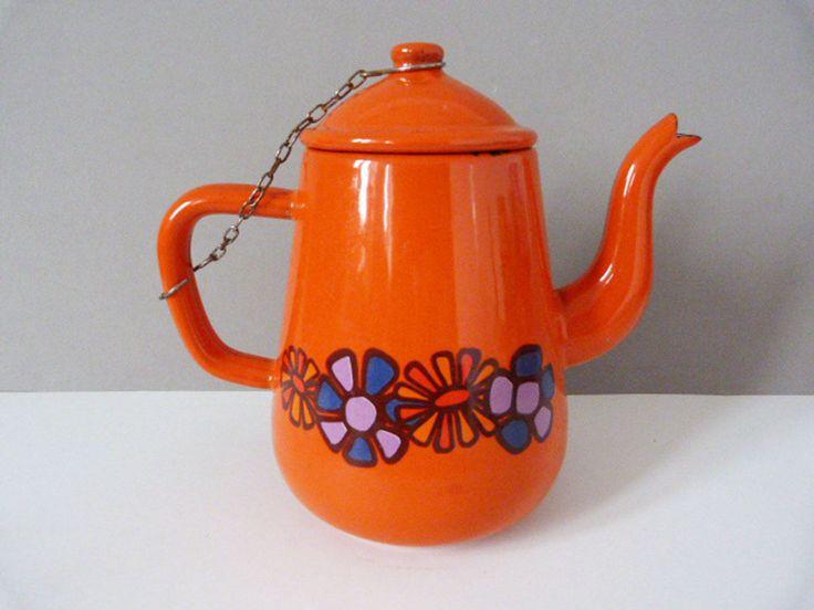 Vintage orange enamel teapot by planetutopia on Etsy
