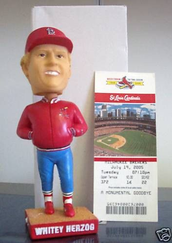 Whitey Herzog St. Louis Cardinals bobblehead doll Promotional Stadium (SGA) bobblehead Distributed July 19th, 2005 Full size bobblehead Made of heavy resin/ceramic Comes in original factory gift box